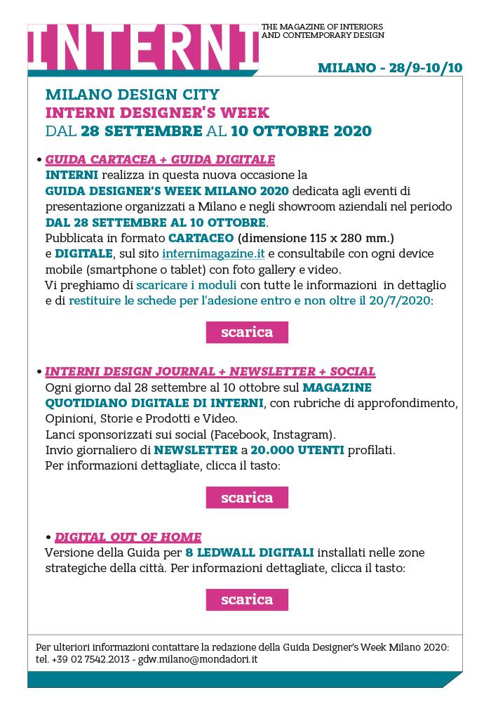 Milano Design City | INTERNI Designer's Week 2020  | Ultimi giorni per partecipare